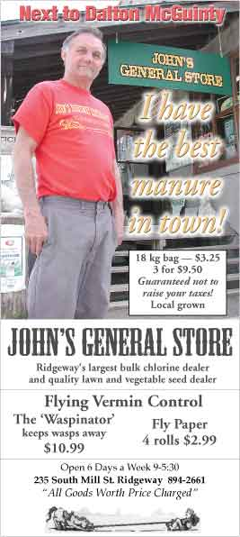 John's General Store ad in The Ridgeway Herald